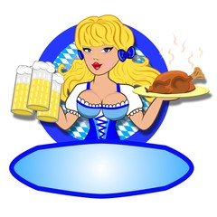 Kellnerin mit Brathähnchen und Bier