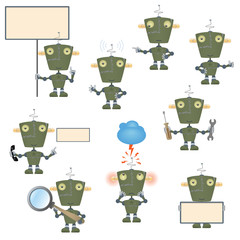 Funny cartoon military robot set