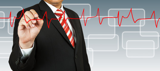 Businessman draw a pulse line