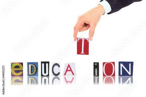 Hand and word Solution isolated on white background