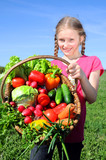 little girl with basket of vegetables