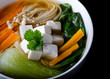 Miso soup with noodles, tofu, enoki and bok choy