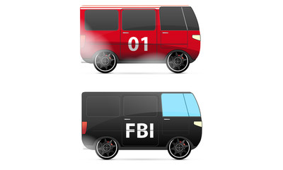 FBI and fire vector cars isolated on white