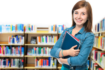 female student at campus library