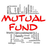 Mutual Fund Word Cloud Concept in red & black poster