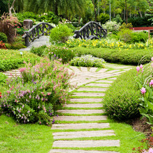 "Постер, картина, фотообои ""Landscaping in the garden. The path in the garden."""