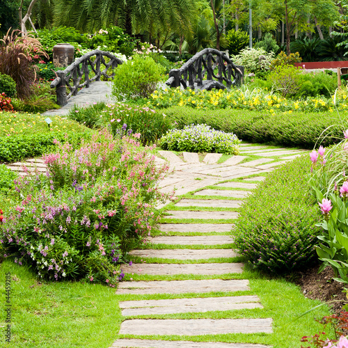 Landscaping in the garden. The path in the garden. - 44459285