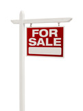 Red For Sale Real Estate Sign on White with Clipping Path