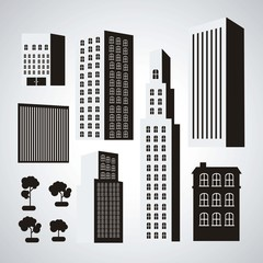 black and white buildings