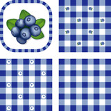 Seamless Check Patterns, Blueberries, EPS has 3 pattern swatches