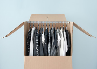 Clothes in a wardrobe box for easy moving