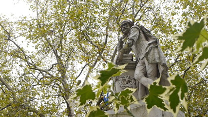 Statue of William Shakespeare in Leicester Square, London.