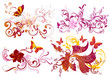 Colorful calligraphic floral elements set