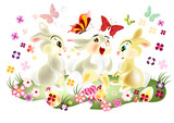 Fototapety Easter card with three pretty  cartoon hare sit on spring lawn