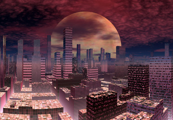 Modern Alien City Skyline
