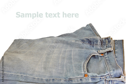 bolt of jeans on the white background,isolation of jeans