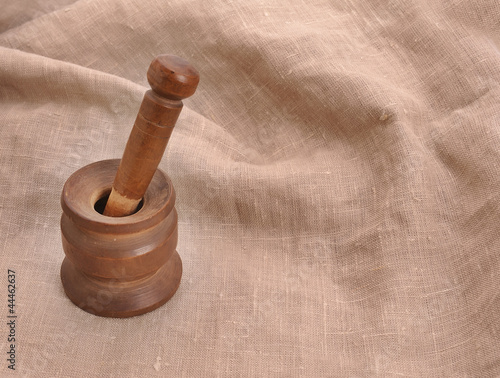 old used wooden mortar and pestle