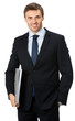 Business man with folder, on white