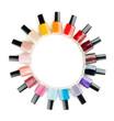 Nail polish arranged in a circle