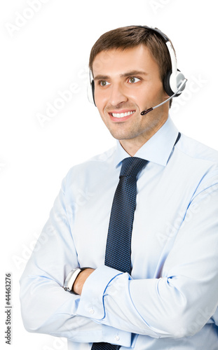 Phone operator in headset, isolated