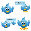 Cartoon Vogel - Tweet - Like - Follow me