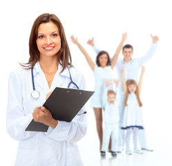 Young attractive female doctor and family isolated