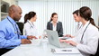Hospital Doctors Successful Meeting Financial Consultant