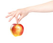 ladies hand with apple isolated