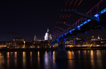 London, St Paul's cathedral and millennium bridge at night