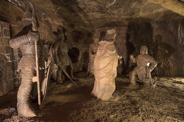 The Chamber of the Legend in the Wieliczka Salt Mine, Poland.