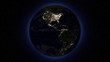 Earth by night from space.Seamless looping animation with stars