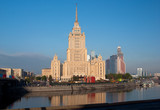 Hotel Ukraine from riverside in Moscow, Russia