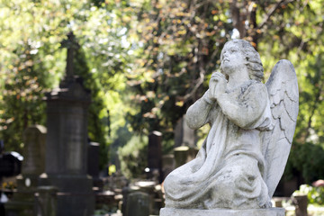 Statue of ancient angel on cemetery in Warsaw