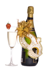 Champagne and masquerade mask