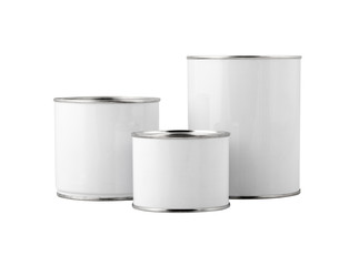 White paint can set without label isolated on white. Path includ