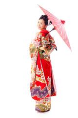 japanese kimono woman with red umbrella