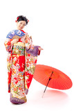 japanese kimono woman with traditonal fan