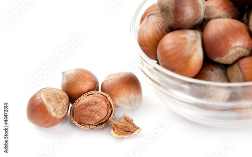hazelnuts in a glass bowl