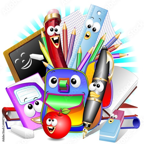 Back to School Cartoon Elements-Scuola Cancelleria e Zaino