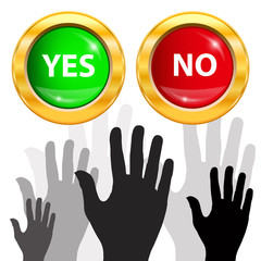 Large group of raising hands  Vote and yes or no button  Vector