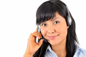 junge attraktive Frau mit Headset