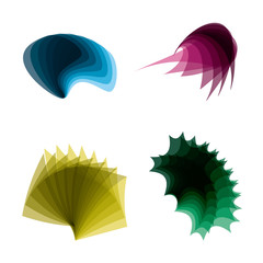 Four abstract shapes vector EPS 8