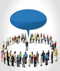 business people listening a man talking by speech balloon