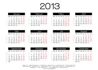kalender 2013 mit feiertagen vektor