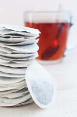 Round sachets with tea leaves