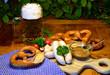 Leinwanddruck Bild - Brotzeit mit Weißwürsten