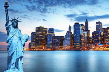 Manhattan et statue de la Liberté, New York.