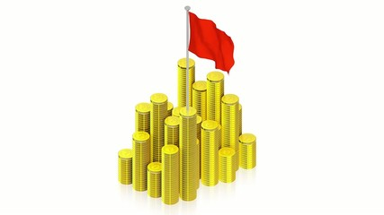 Gold coins with red flag