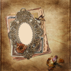 Old frame Victorian style on the vintage background