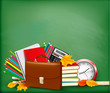 Green background with school supplies and autumn leaves